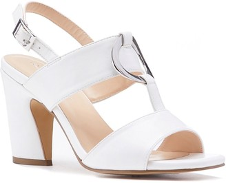 Paradox London Harding White High Block Heel Sandals