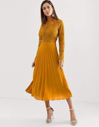 Asos Design DESIGN long sleeve lace bodice midi dress with pleated skirt-Orange