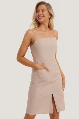 NA-KD Linen Look Strap Pocket Dress