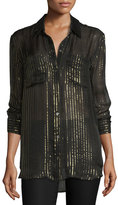 Kate Moss for Equipment Daddy Metallic-Striped Silk Shirt