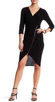 Just For Wraps Surplice V-Neck 3/4 Sleeve Front Zip Midi Dress