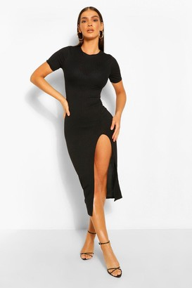 boohoo Jumbo Rib Split Side Mini Dress