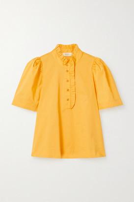 Sea Clara Ruffle-trimmed Cotton-blend Poplin Blouse - Yellow