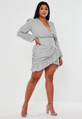 Missguided Plus Size Lilac Ruched Side Ruffle Hem Mini Dress