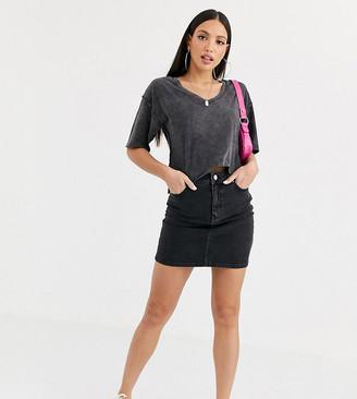 Asos Tall ASOS DESIGN Tall denim original high waisted skirt in washed black