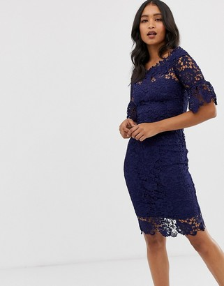 Paper Dolls off shoulder crochet dress with frill sleeve in navy