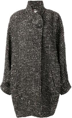 Fendi Pre Owned Tweed Wrap Coat