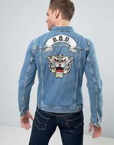 Jack and Jones Intelligence Denim Jacket With Back Embroidery