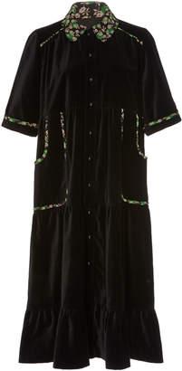 Anna Sui Ruffled-Hem Velveteen Coat Dress