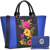 Blue & Black Floral Tote & Wristlet