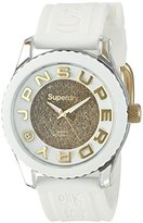 Superdry Women's 'Tokyo Shimmer' Quartz Plastic and Silicone Dress Watch, Color:White (Model: SYL174WG)