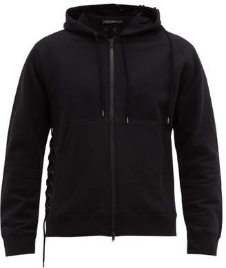 Craig Green Laced Zip Through Cotton Hooded Sweatshirt - Mens - Black