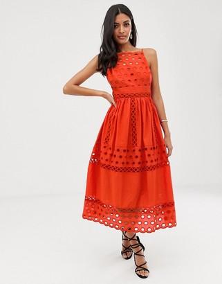 Asos Design DESIGN Premium high neck low back broderie prom midi dress-Red
