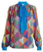 Mary Katrantzou Veddar patchwork-print silk blouse