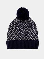 Burton Burton Navy And White Knitted Textured Bobble Hat