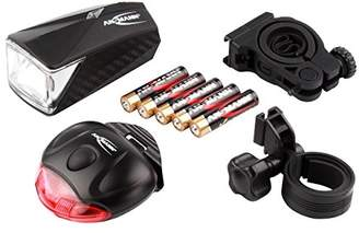 ANSMANN 1600-0105 Lite Rider LED Front and Rear Bike Light/2 Brackets/5 AAA Batteries Set, Plastic, Black