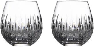 Waterford Mara Set of 2 Lead Crystal Stemless Wine Glasses