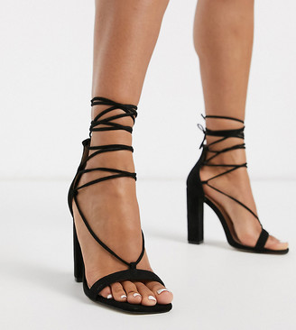 Public Desire Wide Fit Frankie tie up block heeled sandals in black