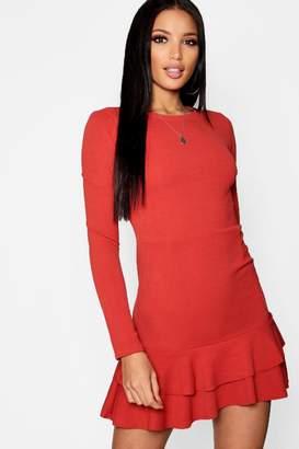 boohoo Ruffle Hem Long Sleeve Dress