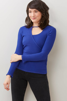 Red Haute Ribbed Keyhole Top Blue XS
