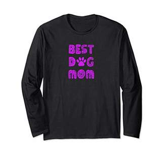Fun Best Dog Mom with Dog Paw Print Long Sleeve T-Shirt