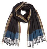 Paul Smith Men's Stripe Herringbone Wool Scarf
