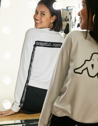 Kappa logo front sweater with back taping in white