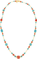Jose & Maria Barrera Long Reconstituted Turquoise & Coral Beaded Necklace