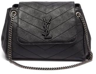 Saint Laurent Nolita Chevron-quilted Leather Shoulder Bag - Black