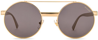 Versace Metal Round Sunglasses in Gold & Polar Grey | FWRD