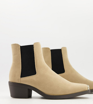 ASOS DESIGN Wide Fit cuban heel western chelsea boots in stone faux suede with metal hardware
