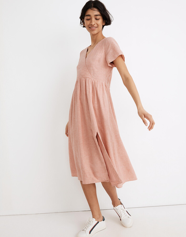 Linen-Blend Clara Midi Dress