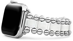 Lagos White Ceramic Smart Caviar Apple Watch Band, 38-40mm