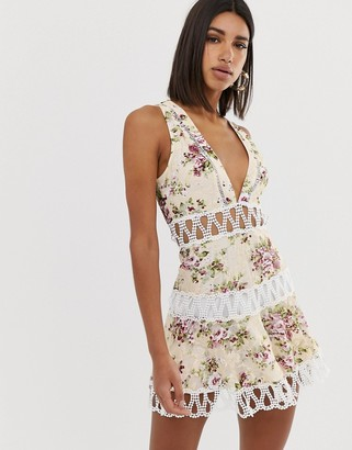 Love Triangle extreme plunge mini dress with scallop lace inserts in floral print