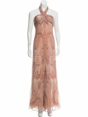 Carmen Marc Valvo Silk Evening Dress Pink