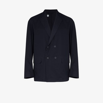 Descente Navy Double-Breasted Blazer Jacket