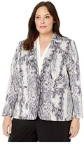Vince Camuto Specialty Size Plus Size Demure Snake Skin Notch Collar Blazer (Rich Black) Women's Clothing