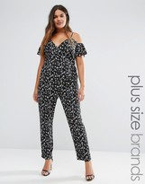 Koko Plus Jumpsuit With Cold Shoulder Ruffle Detail