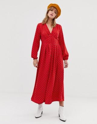 Only geo print button through maxi dress