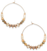 INC International Concepts Rose Gold-Tone Pavé & Multi-Bead Hoop Earrings, Only at Macy's