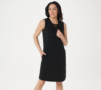 Denim & Co. Solid French Terry Grommet Dress