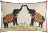 "John Robshaw Hand-Painted Elephants Pillow, 12"" x 18"""