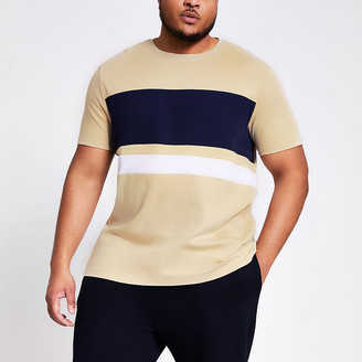 River Island Big and Tall beige colour blocked T-shirt