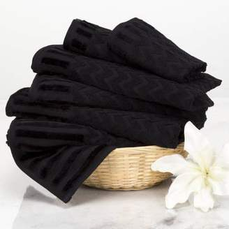 6-Piece Cotton Deluxe Plush Bath Towel Set Chevron Pattern Plush Sculpted Spa Luxury Decorative Body Hand and Face Towels by Somerset Home (Black)