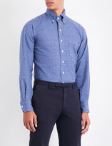 Drakes Checked brushed-cotton shirt