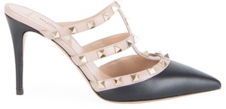 Valentino Rockstud Point-Toe Leather Mules
