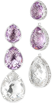 Delatori By Alor Silver 69.00 Ct. Tw. Pink Amethyst & Crystal Drop Earrings