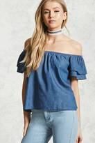 Forever 21 FOREVER 21+ Chambray Flounce-Sleeve Top