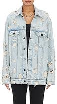 Denim x Alexander Wang Women's Distressed Denim Jacket-LIGHT BLUE, WHITE