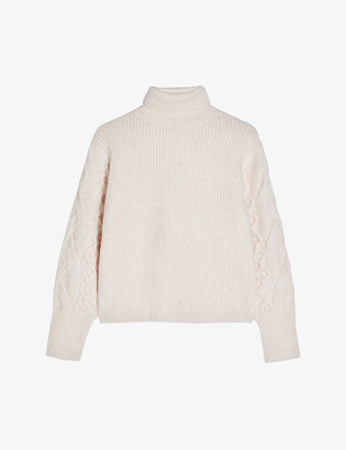 Topshop Cable knit-sleeve roll-neck jumper